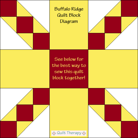 """Buffalo Ridge Quilt Block Diagram Free Pattern for 12"""" finished quilt block at QuiltTherapy.com!"""