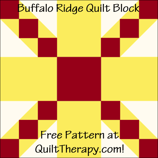 """Buffalo Ridge Quilt Block Free Pattern for a 12"""" quilt block at QuiltTherapy.com!"""