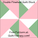 "Double Pinwheel Quilt Block Free Pattern for a 12"" quilt block at QuiltTherapy.com!"