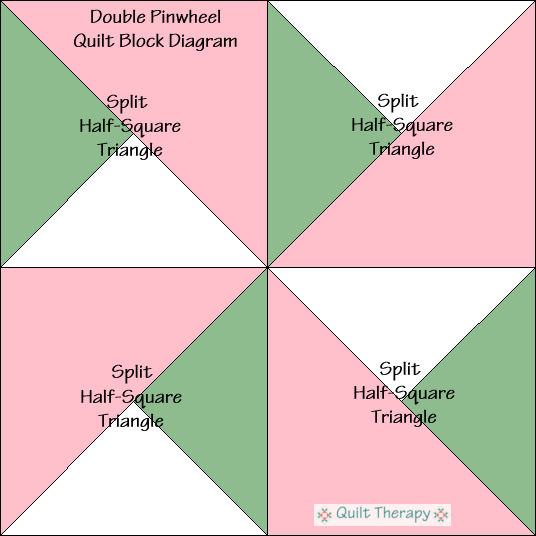 "Double Pinwheel Quilt Block Diagram Free Pattern for 12"" finished quilt block at QuiltTherapy.com!"