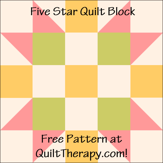 "Five Star Quilt Block Free Pattern for a 12"" quilt block at QuiltTherapy.com!"