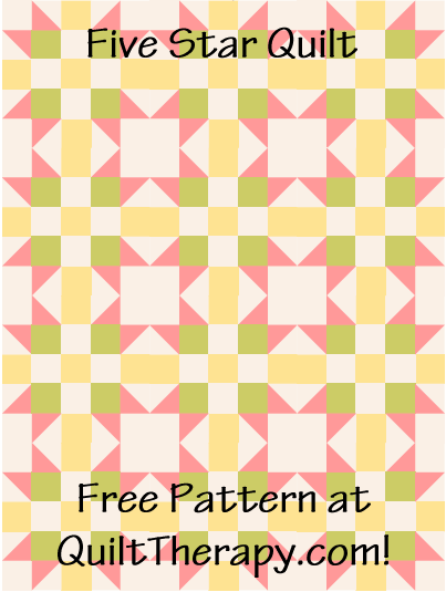"Five Star Quilt Free Pattern for a 36"" x 48"" quilt at QuiltTherapy.com!"