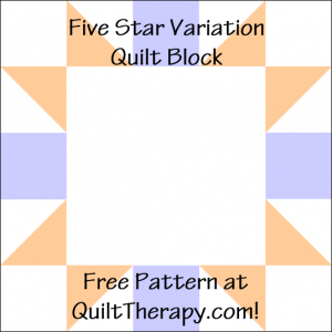 "Five Star Variation Quilt Block Free Pattern for a 12"" quilt block at QuiltTherapy.com!"