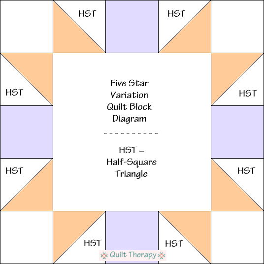 "Five Star Variation Quilt Block Diagram Free Pattern for 12"" finished quilt block at QuiltTherapy.com!"