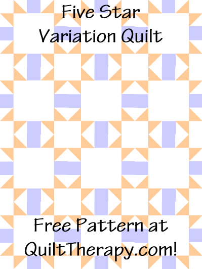 "Five Star Variation Quilt Free Pattern for a 36"" x 48"" quilt at QuiltTherapy.com!"