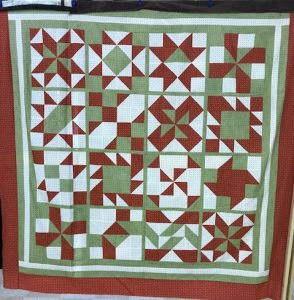 "The ""Maidstone Quilting Squares"" quilt group are making my Cinnamon-teen Chocolate Figs & Roses quilt! Quilt #1"