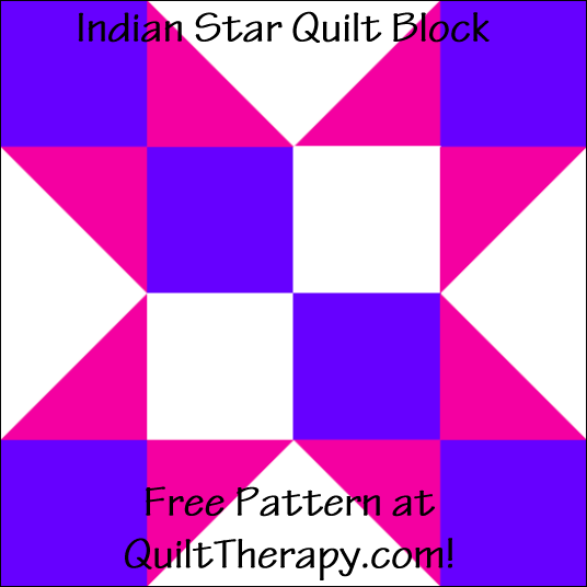 "Indian Star Quilt Block Free Pattern for a 12"" quilt block at QuiltTherapy.com!"