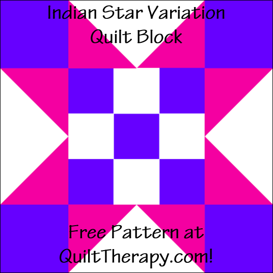 "Indian Star Variation Quilt Block Free Pattern for a 12"" quilt block at QuiltTherapy.com!"