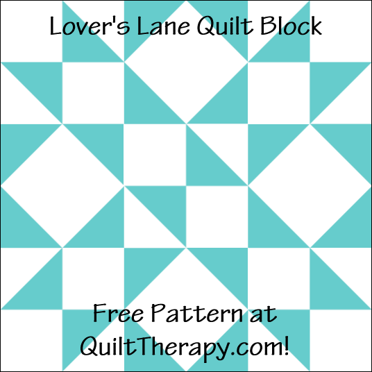 "Lover's Lane Quilt Block Free Pattern for a 12"" quilt block at QuiltTherapy.com!"