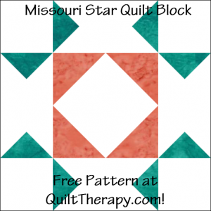 "Missouri Star Quilt Block Free Pattern for a 12"" quilt block at QuiltTherapy.com!"