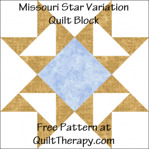 "Missouri Star Variation Quilt Block Free Pattern for a 12"" quilt block at QuiltTherapy.com!"