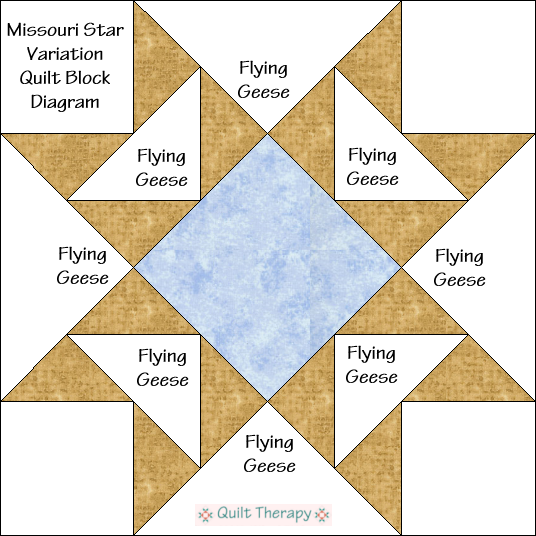 "Missouri Star Variation Quilt Block Diagram Free Pattern for 12"" finished quilt block at QuiltTherapy.com!"