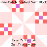 """Nine-Patch Pinwheel Quilt Block Free Pattern for a 12"""" quilt block at QuiltTherapy.com!"""
