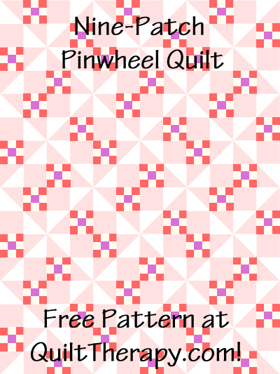 "Nine-Patch Pinwheel Quilt Block Diagram Free Pattern for 12"" finished quilt block at QuiltTherapy.com!"