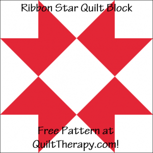 "Ribbon Star Quilt Block Free Pattern for a 12"" quilt block at QuiltTherapy.com!"