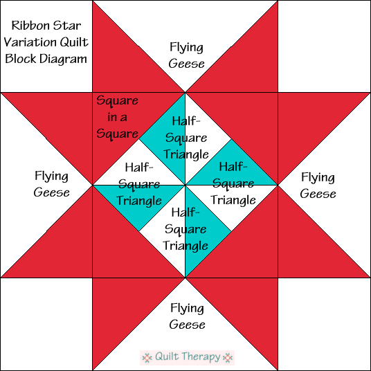 "Ribbon Star Variation Pinwheel Quilt Block Diagram Free Pattern for 12"" finished quilt block at QuiltTherapy.com!"