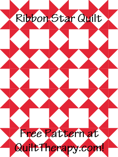 "Ribbon Star Pinwheel Quilt Free Pattern for a 36"" x 48"" quilt at QuiltTherapy.com!"