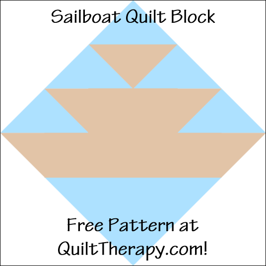 "Sailboat Quilt Block Free Pattern for a 12"" quilt block at QuiltTherapy.com!"