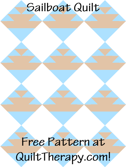 "Sailboat Quilt Free Pattern for a 36"" x 48"" quilt at QuiltTherapy.com!"