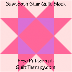 "Sawtooth Star Quilt Block Free Pattern for a 12"" quilt block at QuiltTherapy.com!"