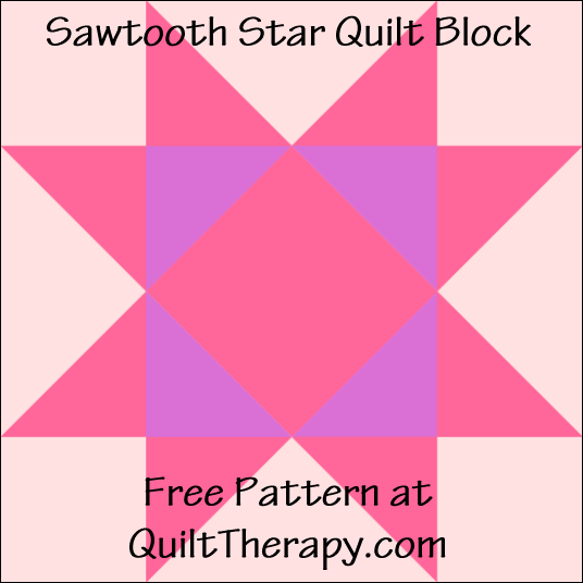 """Sawtooth Star Quilt Block Free Pattern for a 12"""" quilt block at QuiltTherapy.com!"""