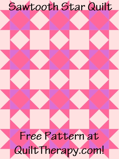 """Sawtooth Star Quilt Free Pattern for a 36"""" x 48"""" quilt at QuiltTherapy.com!"""