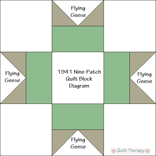 """1941 Nine-Patch Quilt Block Diagram Free Pattern for 12"""" finished quilt block at QuiltTherapy.com!"""