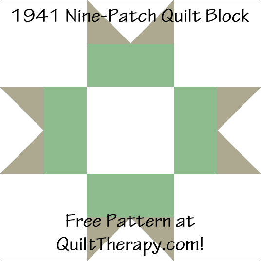 """1941 Nine-Patch Quilt Block Free Pattern for a 12"""" quilt block at QuiltTherapy.com!"""