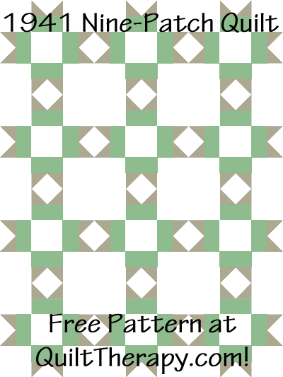 """1941 Nine-Patch Quilt Free Pattern for a 36"""" x 48"""" quilt at QuiltTherapy.com!"""