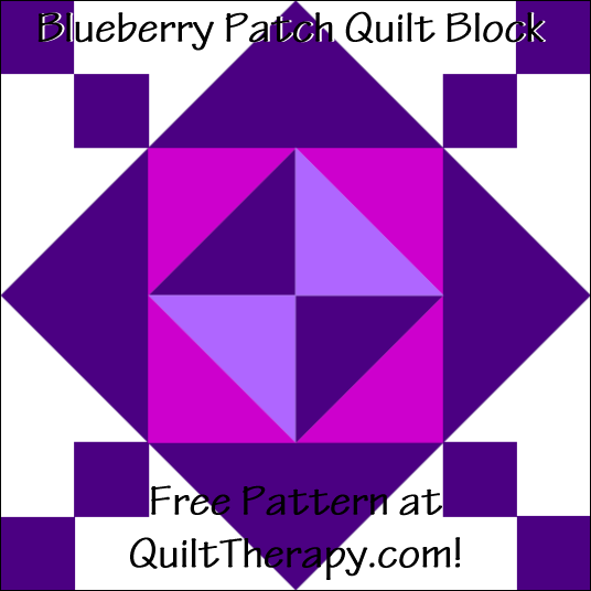 "Blueberry Patch Quilt Block Free Pattern for a 12"" quilt block at QuiltTherapy.com!"