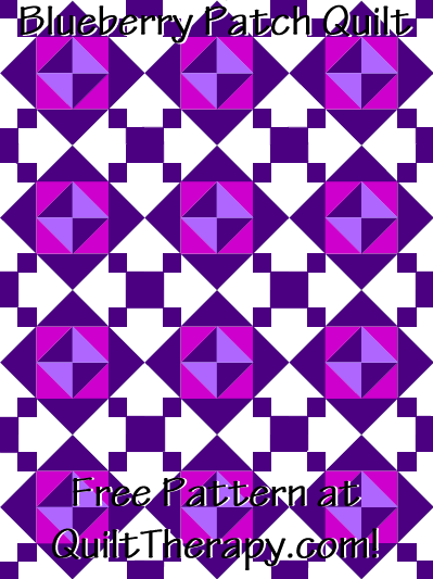 """Blueberry Patch Quilt Free Pattern for a 36"""" x 48"""" quilt at QuiltTherapy.com!"""