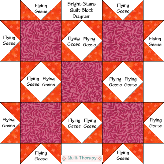 "Bright Stars Quilt Block Diagram Free Pattern for 12"" finished quilt block at QuiltTherapy.com!"