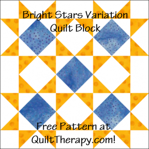 "Bright Stars Variation Quilt Block Free Pattern for a 12"" quilt block at QuiltTherapy.com!"