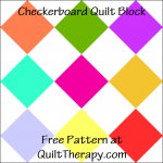 "Checkerboard Quilt Block Free Pattern for a 12"" quilt block at QuiltTherapy.com!"