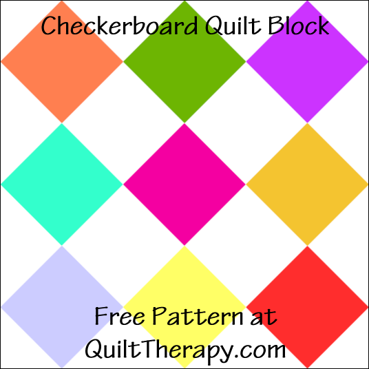 """Checkerboard Quilt Block Free Pattern for a 12"""" quilt block at QuiltTherapy.com!"""