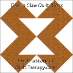 "Devil's Claw Quilt Block Free Pattern for a 12"" quilt block at QuiltTherapy.com!"