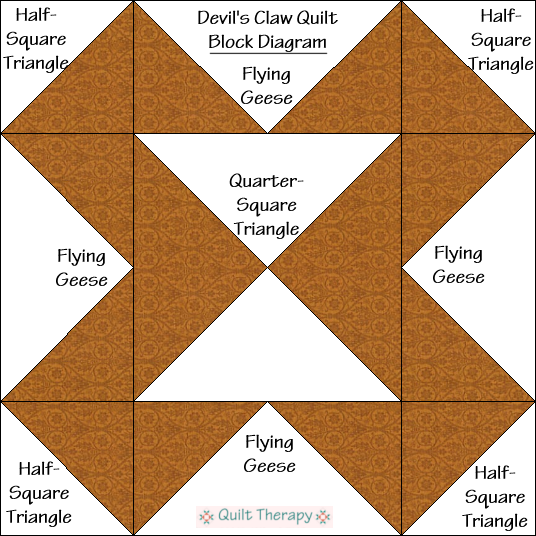 "Devil's Claw Quilt Block Diagram Free Pattern for 12"" finished quilt block at QuiltTherapy.com!"