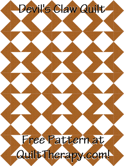 """Devil's Claw Quilt Free Pattern for a 36"""" x 48"""" quilt at QuiltTherapy.com!"""
