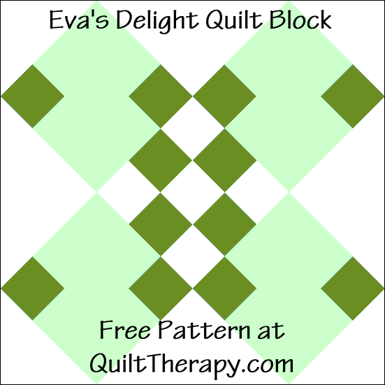 "Eva's Delight Quilt Block Free Pattern for a 12"" quilt block at QuiltTherapy.com!"