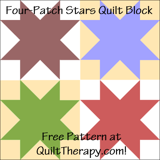 "Four-Patch Stars Quilt Block Free Pattern for a 12"" quilt block at QuiltTherapy.com!"