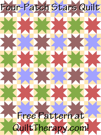 "Four-Patch Stars Variation Quilt Free Pattern for a 36"" x 48"" quilt at QuiltTherapy.com!"