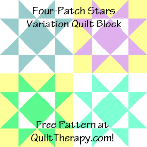 "Four-Patch Stars Variation Quilt Block Free Pattern for a 12"" quilt block at QuiltTherapy.com!"