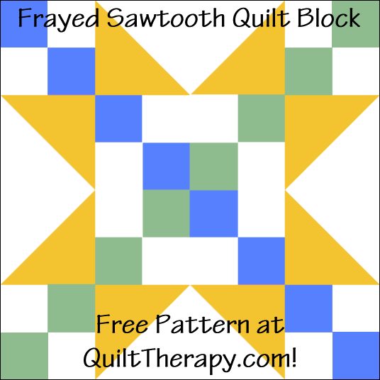 "Frayed Sawtooth Quilt Block Free Pattern for a 12"" quilt block at QuiltTherapy.com!"