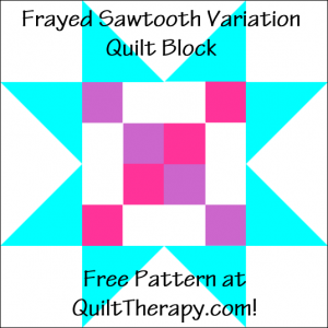 "Frayed Sawtooth Variation Quilt Block Free Pattern for a 12"" quilt block at QuiltTherapy.com!"