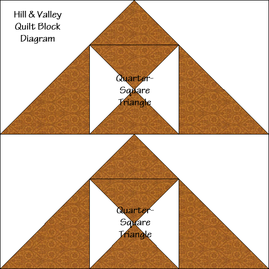 """Hill & Valley Block Diagram Free Pattern for 12"""" finished quilt block at QuiltTherapy.com!"""