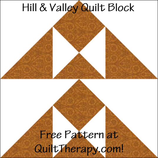 """Hill & Valley Quilt Block Free Pattern for a 12"""" quilt block at QuiltTherapy.com!"""