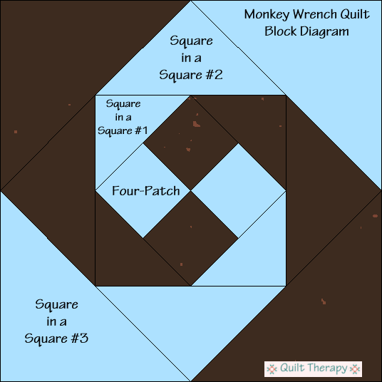 "Monkey Wrench Quilt Block Diagram Free Pattern for 12"" finished quilt block at QuiltTherapy.com!"