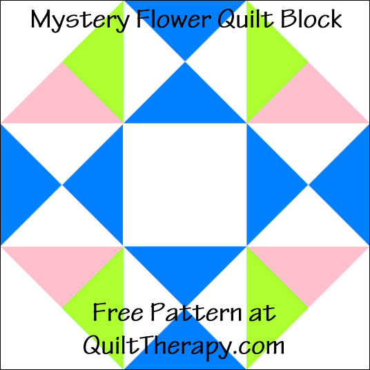 "Mystery Flower Quilt Block Free Pattern for a 12"" quilt block at QuiltTherapy.com!"