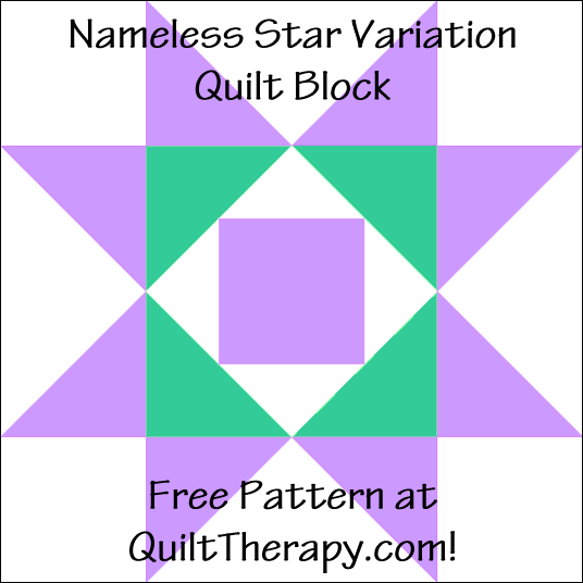 "Nameless Star Variation Quilt Block Free Pattern for a 12"" quilt block at QuiltTherapy.com!"