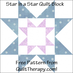 "Star in a Star Quilt Block Free Pattern for a 12"" quilt block at QuiltTherapy.com!"